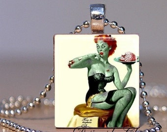 Zombie Pin-up Girl Scrabble Charm Necklace