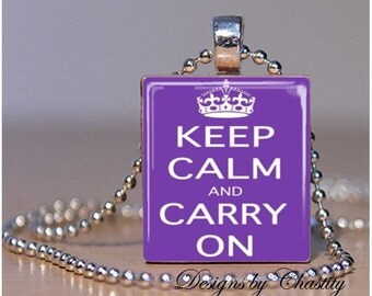 Keep Calm and Carry on Purple Scrabble Necklace