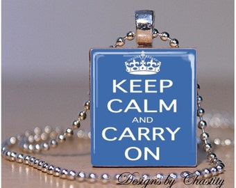 Keep Calm and Carry on Blue Scrabble Necklace