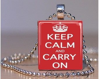 Keep Calm and Carry on Red Scrabble Necklace