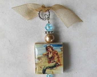 Vintage Mermaid Ocean Dreams Swarovski Charm Pendant