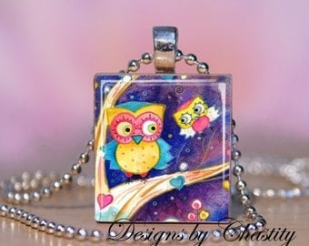 Owl and baby in a Tree Scrabble Charm Necklace