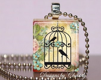 Lovebirds in a cage Flower Scrabble Charm Necklace