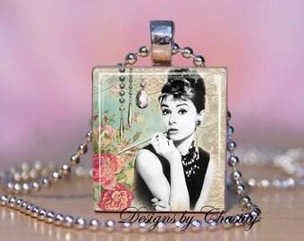 Audrey Hepburn Altered Art Rose Scrabble Charm Necklace
