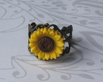 Yellow Sunflower Ring
