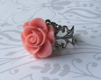 Coral Pink Antique Silver Ring