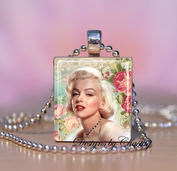 Marilyn Monroe Altered Art Rose Scrabble Charm Necklace