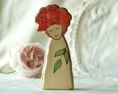 RED ROSE FAIRY - hand carved and burned wooden toy for nature table