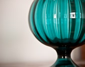 Turquoise Italian Art Glass Compote with Lid