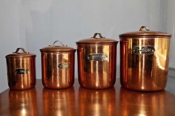 copper canister set kitchen mid century copper kitchen canisters set of 4 16850