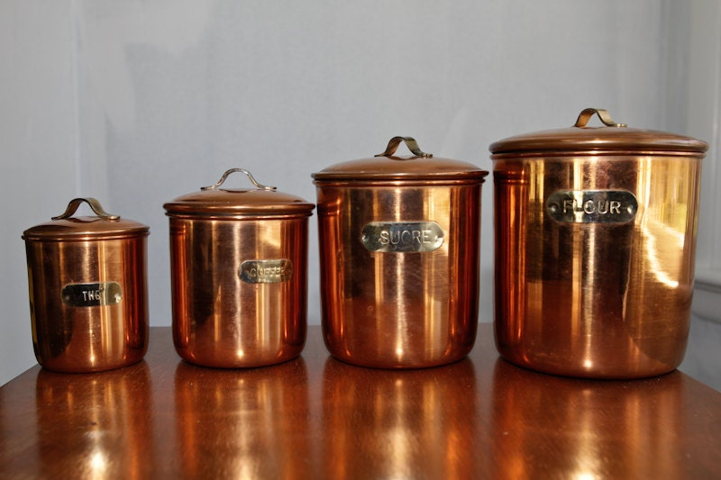Mid century copper kitchen canisters set of 4 for Kitchen set cicilan 0