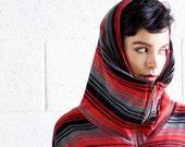 winter SALE 15%, Bat sleeves hood  zipper stripes sweater SMALL in stock