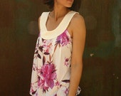 LAST SALE 50% off!!!! under 50,    Flower tank with white collar