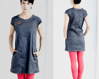 A line dark black stone washed cotton denim mini dress, jeans everyday casual black mini dress, summer jeans dress