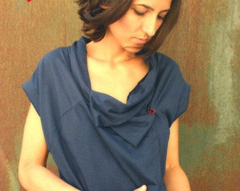 under 50, Wrap asymmetrical top in dark blue