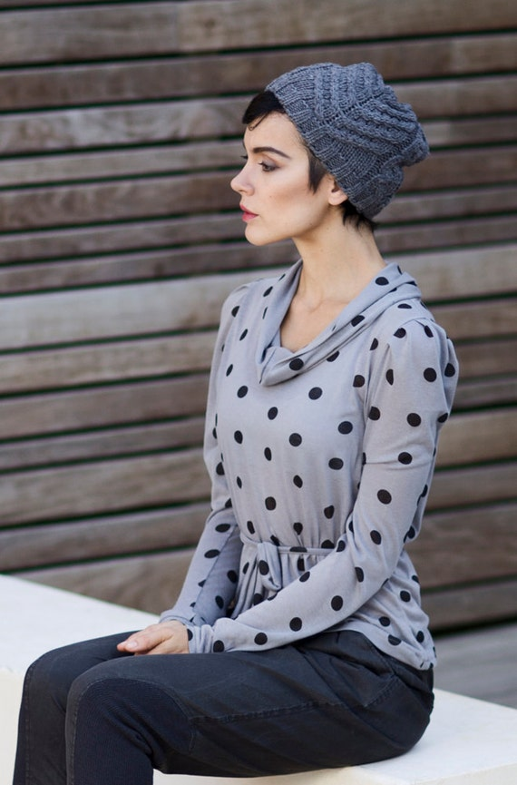 SALE 60%, under 50,  Polka dots light long sleeves shirt with belt and cowl neckline in grey SMALL in stock