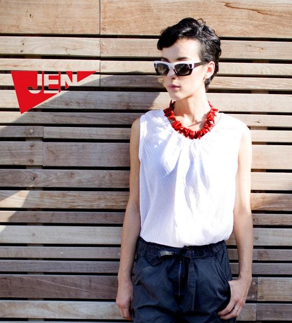 Cotton Silk Chiffon white stripes blouse with tying