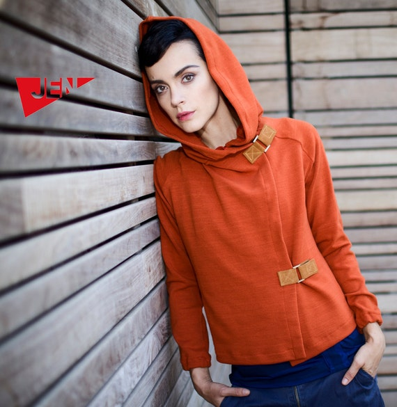 Terra cotta orange hood french terry sweater with camel leather claps - HoodSweatVest