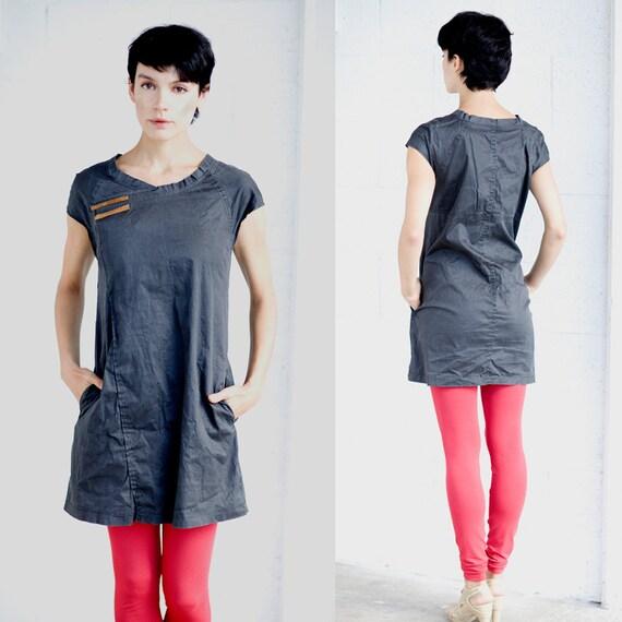 A line dark black stone washed cotton denim mini dress, jeans everyday casual black mini dress, summer jeans dress