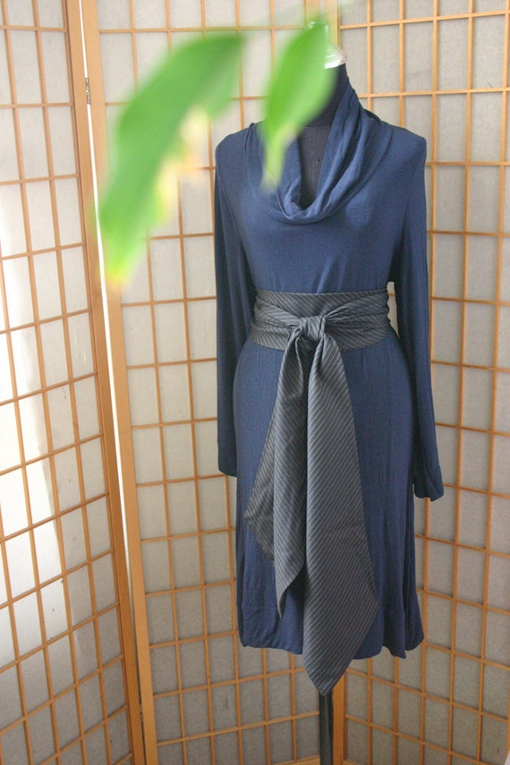 SALE 60%  DELICATE blue  tunic with strips black obi belt