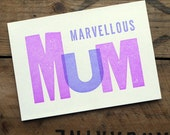 Marvellous Mum Letterpress Mother's Day Card