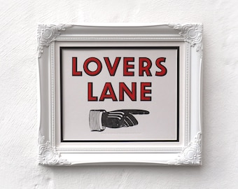 valentine's Lovers Lane Letterpress Print SALE