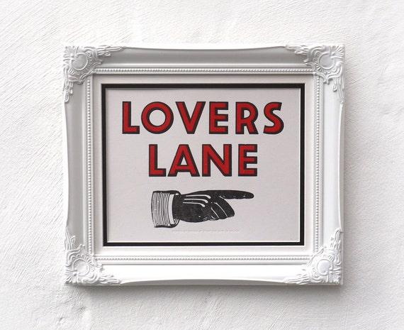 valentine's Lovers Lane Letterpress Print SALE