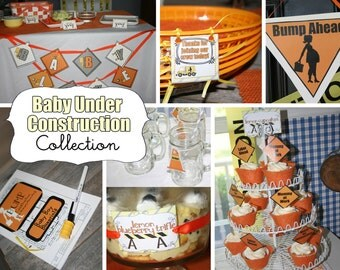 Construction Baby Shower - BABY UNDER CONSTRUCTION Design - Printable Instant Download Collection by Moo Moo's & Tutus