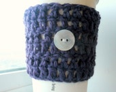 Purple Coffee Cozy / button with heart design