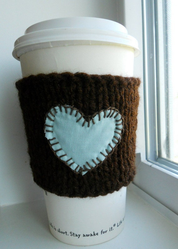 I love my coffee / knitted coffee cup cozy / wrist warmer /dark brown and light blue