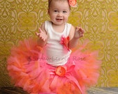Baby Girls Birthday Tutu Dress Outfit, Strawberrie Tangerine Tresor Tutu Dress