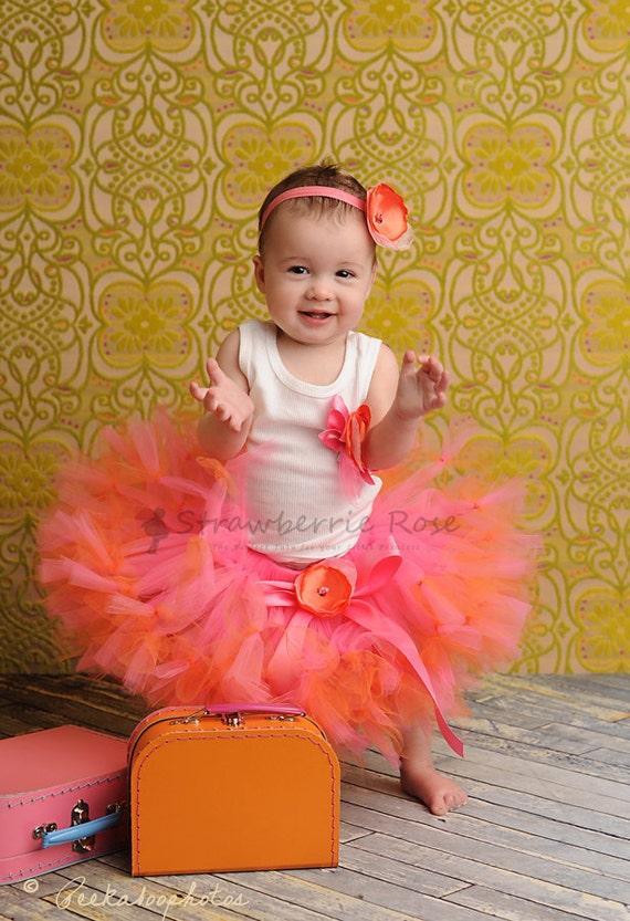 Baby Girls Birthday Tutu Dress Outfit, Strawberrie Tangerine Tresor Tutu Dress