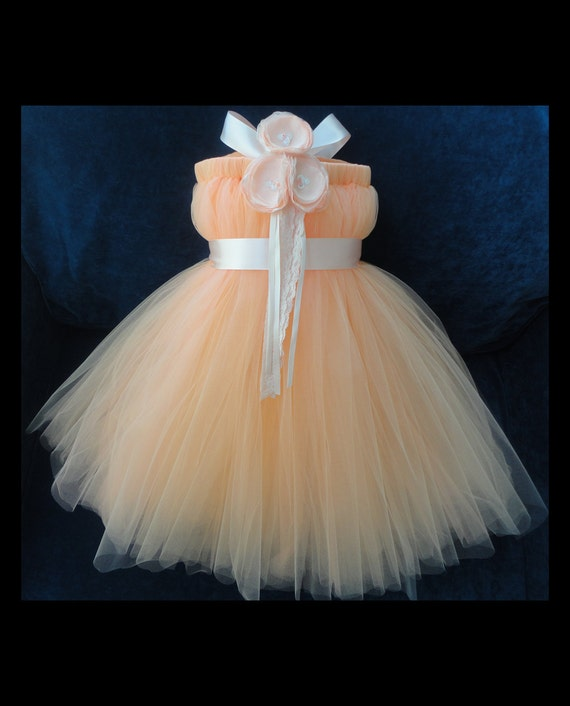 Peach Flower Girl Dress By StrawberrieRose On Etsy