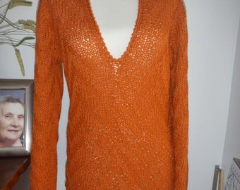 Orange wool-acrylic sweater no.173