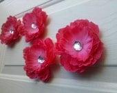 Wall Flowers - 3 dark pink peony - Wall Decor
