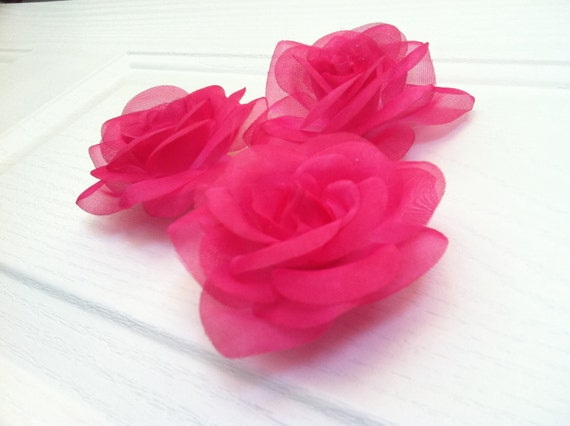 Wall Flowers - 6 Hot Pink Roses - Wall Decor - Bedding - Nursery