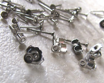 3mm 100 pcs TITANIUM Posts with Flat-Pad and Backs - 50 pairs earrings