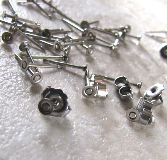 48 3mm surgical steel flat pad earring posts and backs