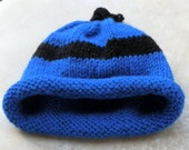 Umbilical Cord Baby Beanie Hat In Sparkle Brilliant Blue and Black