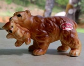 Vintage Mother Bear With Baby Bear Cub Bone China