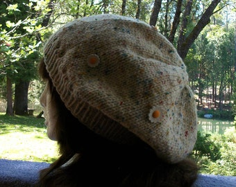 Hand Knit Slouchy Beanie Hat With Daisy Buttons and Multicolor Yarn