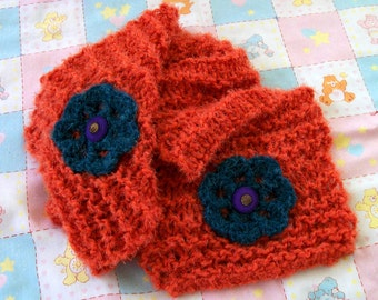Hand Knit Orange and Teal Scarf With Vintage Purple Button Accents