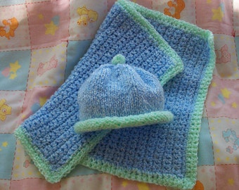 Baby Blue and Soft Green Hand Knit Beanie and Matching Crocheted Burp Cloth