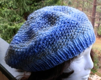 Beret Hand Knit In Gorgeous Aquatic Blues With Designer Button