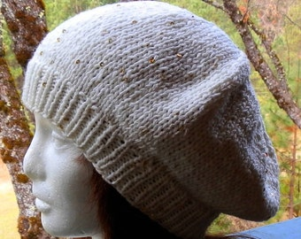 Ivory White Knit Slouchy Beanie With Gold Rainbow Seiquins and Beautiful Designer Button
