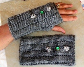 Hand Knit Fingerless Gloves in Heather Grey With Decorative Buttons