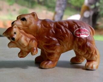 Vintage Mother Bear With Baby Bear Cub Bone China