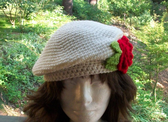 Beret With Red Roses Hand Crocheted With Fine Acrylic Yarn