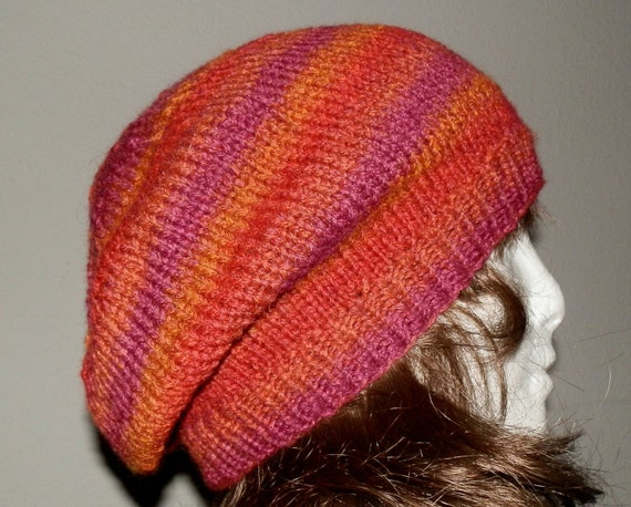 Sunrise Sunset Warm Hand Knit Slouchy Beanie In Firey Colors