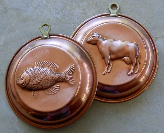 Vintage Solid Copper Molds with Cow and Fish for Wall Hanging or Kitchen Decor